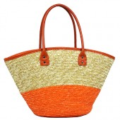 Straw Tote: Woven Wheat 2-tone w/ PU Leather Handles - Orange