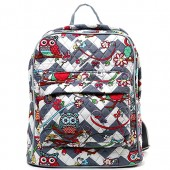 $19.99 Quilted Cotton Backpack - Owl & Chevron Printed - Grey