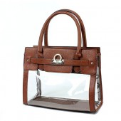 Clear PVC Tote - PU Leather Trim Accent w/ Fold Down Lock - Brown
