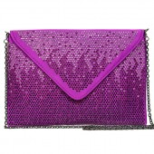 Evening Bag - Satin Envelop Clutch w/ Graident Colored Rhinestones - Purple