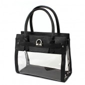 Clear PVC Tote - PU Leather Trim Accent w/ Fold Down Lock - Black