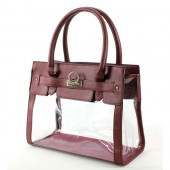 Clear PVC Tote - PU Leather Trim Accent w/ Fold Down Lock - Burgundy
